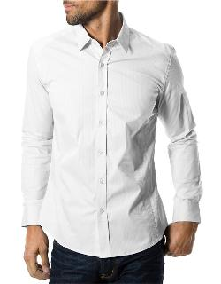 7 Diamonds - Diamond Eyes Textured Tonal Pinstripe Sport Shirt