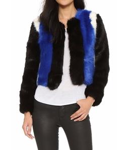 Line & Dot - Colorblock Faux Fur Jacket