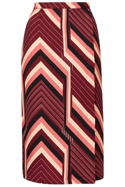 Topshop - Tall Chevron Stripe Midi Skirt