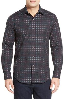 Bugatchi  - Shaped Fit Square Dot Sport Shirt