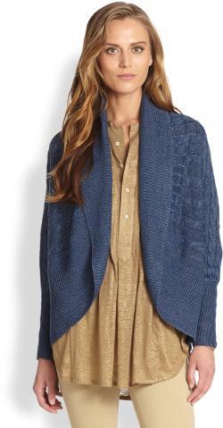 RALPH LAUREN BLUE LABEL - Cable-Knit Linen Circle Cardigan