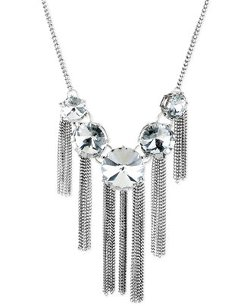 Steve Madden - Graduated Crystal And Chain Fringe Frontal Necklace