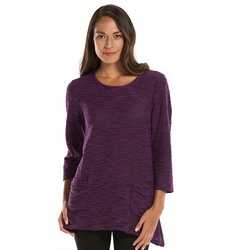 Sag Harbor - Marled Sharkbite Hem Scoopneck Sweater