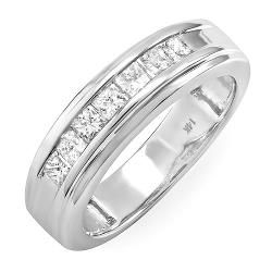 DazzlingRock Collection - 0.90 Carat (ctw) 14k White Gold Princess Diamond Mens Wedding Anniversary Band Ring