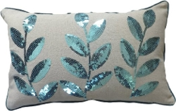 Blue Dolphin - Colored Sequins Leaves Pillow