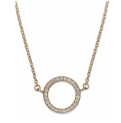 YellOra - Diamond Open Circle Pendant Necklace