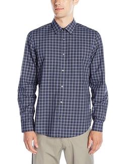 Calvin Klein  - Poplin Twill Check Long Sleeve Button Down Shirt