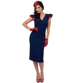 Stop Staring!  - Nautical Button Honor Fitted Wiggle Dress