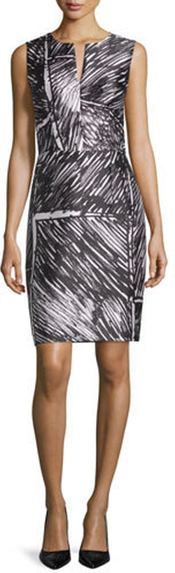 Milly - Sleeveless Printed Sheath Dress