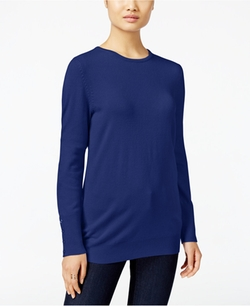 JM Collection  - Crew Neck Button Cuff Sweater
