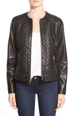 Cole Haan Signature - Collarless Quilted Faux Leather Jacket