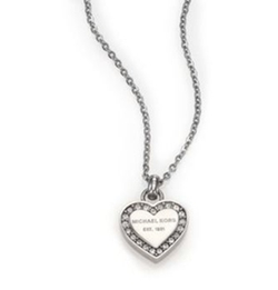 Michael Kors - Heritage Hearts Pave Logo Pendant Necklace