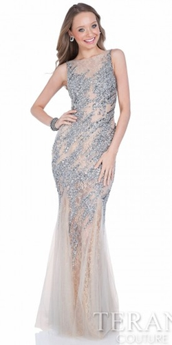 Terani Couture - Monica Beaded Lace Prom Dress