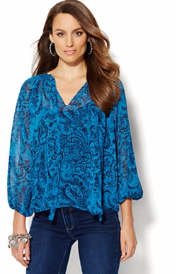 New York & Company - Tie-Front Peasant Blouse