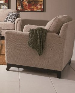 Coaster Home Furnishings - Sofa Chair with Flared Wood Legs in Beige Chenille Fabric