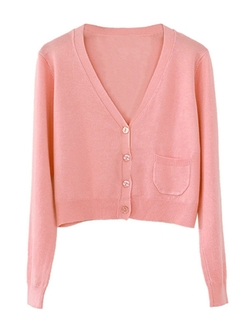 Clothink -  Button Up Pocket Detail Crop Cardigan