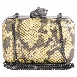 House Of Harlow  - Python Print Leather Clutch Bag