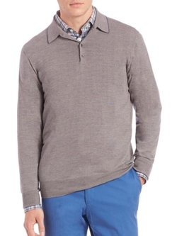 Saks Fifth Avenue Collection  - Long-Sleeve Merino Wool Polo Shirt