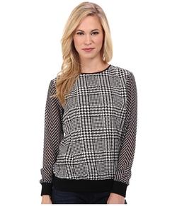 Michael Michael Kors  - Petite Verona Print Knit Trim Sweater