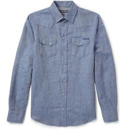 DOLCE & GABBANA -  Linen And Cotton-blend Western Shirt