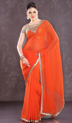 Indian Fashion Trend - Viscose Georgette Designer Indian Saree