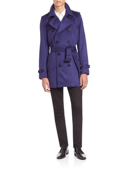 Burberry London - Kensington Blue Cashmere Trench Coat