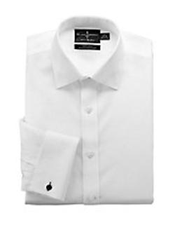 Black Brown - Regular Fit White Tuxedo Shirt