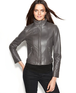 Calvin Klein  - Seamed Leather Moto Jacket