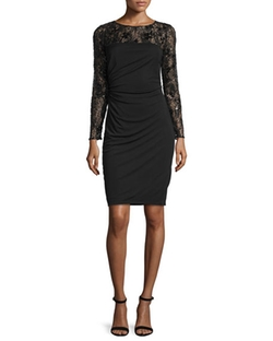 David Meister -  Long-Sleeve Lace Bodice Ruched Cocktail Dress