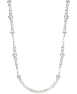 Charter Club - Silver-Tone Imitation Pearl Station Long Necklace