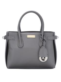 Romwe - Top Zip Side Turn Lock Grey Double Tote Bag