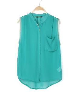 Sheinside - Turquoise Band Collar Pocket Sleeveless Chiffon Blouse