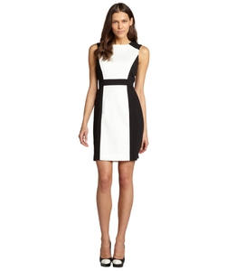 Tahari ASL - Black And Ivory Colorblocked Stretch Sleeveless Dress