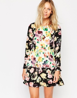 Style London  - Long Sleeve Dress In Floral Mix Print