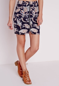 Missguided - Paisley Print Zip Front A Line Skirt