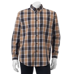 Haggar - Cross-Dye Plaid Easy-Care Button-Down Shirt