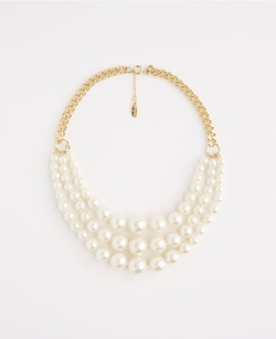 Ann Taylor - Triple Layer Pearlized Necklace