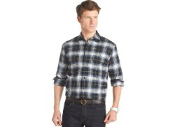 Izod - Long-Sleeve Plaid Twill Shirt