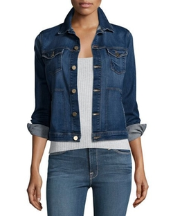 Frame Denim - Piping Button-Front Denim Jacket