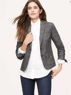 Loft - Peppered Tweed Blazer