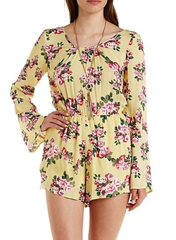 Charlotte Russe - Caged-Back Bell Sleeve Floral Dress