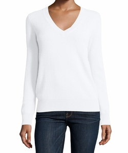 Neiman Marcus Cashmere Collection - Long-Sleeve Deep V-Neck Cashmere Top