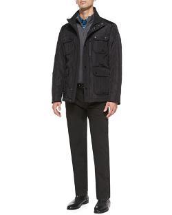 Boss Hugo Boss  - Nylon Field Jacket Micro-Stripe Double-Face Pullover