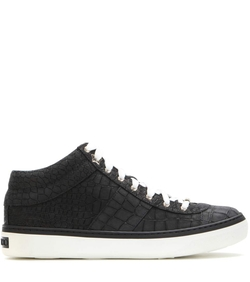 Jimmy Choo - Bells Embossed Leather Sneakers