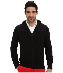 DKNY Jeans - Woven Trim Full-Zip Hooded Sweater