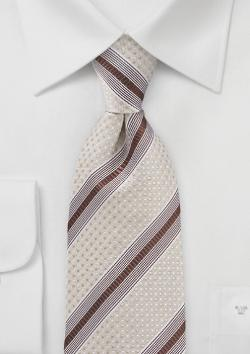 Cavallieri - Striped Tie in Browns and Cream