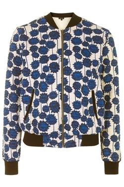 Topshop - Floral Print Jersey Bomber Jacket