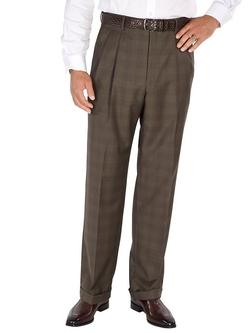 Paul Fredrick -  Glen Plaid Pleated Pants