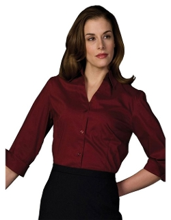 Ed Garments - V-Neck Tailored Stretch Broadcloth Blouse