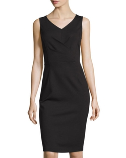 Neiman Marcus - Sleeveless V-Neck Sheath Dress